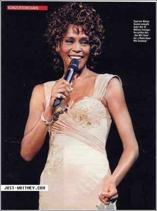 Whitney Houston, July 6, 1998, on-stage in Paris during European Tour ...
